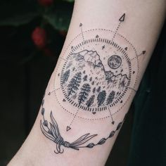 Tiny mountain, moon, evergreen compass with lavender on inner upper arm. Thanks Taija!: