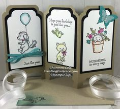 Stampin'Up! Trifold screen card Bella & Friends and Pretty Kitty