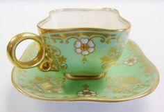 COALPORT England 1891-1919 Demitasse Cup Saucer Set Porcelain JEWELED Rare