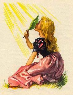 Ганс Христиан Андерсен - Дикие лебеди (иллюстрация Либико Марайа)В крестьянском домике бедная маленькая Элиза играла зеленым листом, - других игрушек у неё не было. Проткнув в этом листе дырочку, Элиза смотрела сквозь неё на солнце, и ей казалось, будто она видит ясные глаза своих братьев; когда же по её щёчке скользили теплые лучи, она вспоминала, как братья целовали её.