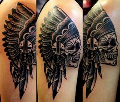 skull/ indian headdress tattoo done by Bus from Tattoos Forever in Fort Walton Beach, Florida call (850) 244-5117 for an appointment.