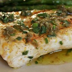 Grilled Halibut with Lemon-Basil Vinaigrette Recipe - Fish Recipes Fish Dishes, Seafood Dishes, Seafood Recipes, Mexican Food Recipes, Grilling Recipes, Gourmet Recipes, Cooking Recipes, Healthy Recipes, Cooking Hacks