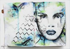 Stamps, Stencils and Oil Pastels | Gayle's art journal