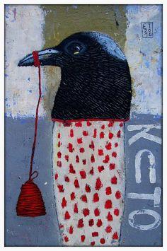 Elke Trittel acrylic collage on board Art Et Illustration, Illustrations, Art Altéré, Art Du Collage, Tachisme, Creation Art, Art Populaire, Naive Art, Art Abstrait