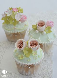 Mint green and pink cupcakes with a wired flower corsage keepsake made for a vintage tea party at Delapre Abbey.
