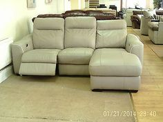 Light Grey Leather Designer Elec Rec 3 Seater Lounger + 3 Seater Sofa (226) £999