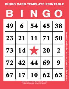 Bingo Card Template Printable Bingo Printable Bingo Cards