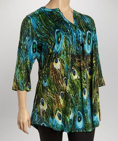Take+a+look+at+the+Green+&+Blue+Peacock+Tunic+-+Plus+on+#zulily+today!