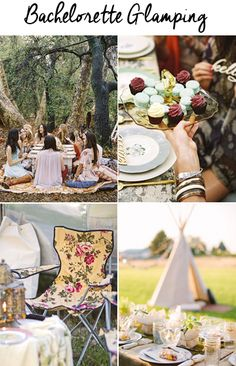 """Camping Bachelorette Party Ideas You might be thinking, camping?! For my bachelorette party?! I know, I know, not all girls are into camping, but glamping, short for """"glamorous camping"""" is really another story. This does not have to be roughing it in the woods with one roll of toilet paper (unless that's your kind of …"""