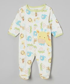 Look at this René Rofé Baby Yellow & White Giraffe Footie - Infant on #zulily today!