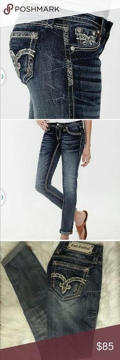 "Rock revival July cuffed skinny Worn once. Rise 7"", length 32"", waist 32"". Cotton/spandex blend. Rock Revival Jeans Skinny"