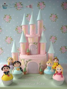 Pink Cinderella's Castle with princess cupcakes - The Clever Little Cupcake Company