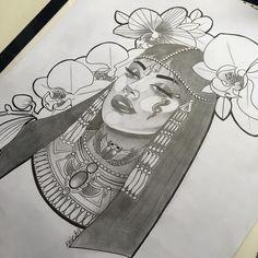 Tattoo Design Drawings, Tattoo Sketches, Drawing Sketches, Art Drawings, Egyptian Drawings, Egyptian Art, Egyptian Queen Tattoos, Time Tattoos, Body Art Tattoos