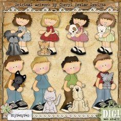 Snicklefritz Pet Kids - Exclusive Cheryl Seslar Country Clip Art