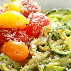 Burst Tomato and Zucchini Spaghetti tossed with a simple, creamy, vegan avocado sauce This healthy recipe is ready in 30 minutes! The post Burst Tomato and Zucchini Spaghetti with Avocado Sauce appeared first on Garden ideas - Health and fitness Veggie Recipes, Pasta Recipes, Diet Recipes, Vegetarian Recipes, Cooking Recipes, Recipes Dinner, Lunch Recipes, Recipe Pasta, Healthy Recipes With Avocado