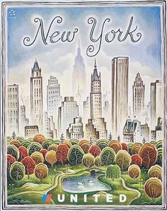 DP Vintage Posters - Original United Airlines Travel Poster New York Central Park