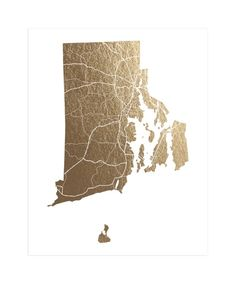 """Rhode Island Map"" - Foil-pressed Art Print by GeekInk Design in beautiful frame options and a variety of sizes."