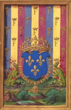 """Armes de François Ier, roi de France (f°5v) -- «La Paraphrase de Erasme de Rotredan sur l'evangile sainct Mathieu"""", 1539, traduction de René Fame» [BNF Ms Fr 934 - ark:/12148/btv1b8470211g]"""