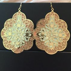 Pink Gold & Cream Moroccan Style Dangle Earrings