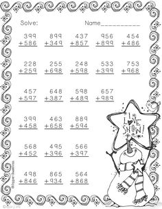 Winter Themed Addition with Regrouping Need extra addition practice? These ten pages Math Worksheets, Math Activities, Teaching Resources, Fifth Grade, Third Grade, Math Sheets, Elementary Math, Winter Theme, Teaching Math
