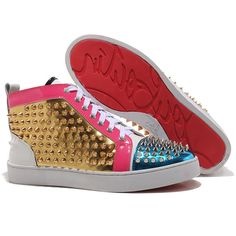 "The red color of this Christian Louboutin Men Sneakers can catch people""s attention easily. If you want to be a fashion and cool man in public, you need a pair of Christian Louboutin red bottom shoes. Color: Blue / Gold / Black Materials: Leather Flat heel"