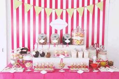 Stripes and a dessert buffet #Wedding #Dessert #Buffet #Food #Stripes #Pink #Bright