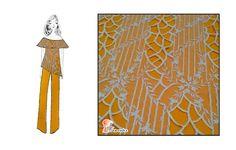 """Tejido """"Rudy"""" un tul combinado con malla y bordado con hilo rayón, color marfil.   Combinado con nuestro modelo """"Dama"""", un crêpe con mucha caída liso de color mostaza.   Disponible en:  RUDY: https://flamentex.es/tejidos/Rudy/ DAMA: https://flamentex.es/tejidos/Dama/0"""