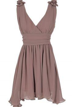 Lavender Grey Rosette Shoulder Dress  www.lilyboutique.com
