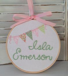 "Nursery Decor, Made To Order Hand Embroidery, One Of A Kind, Embroidery Hoop Art, 6"" Hoop, Pink and Green Flower Bunting, Child and Nursery"