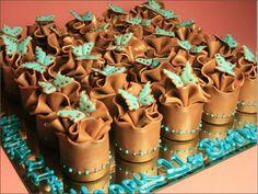 Turquoise Butterflies Mini Cakes