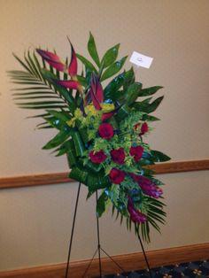 Tropical Funeral Flower Arrangement