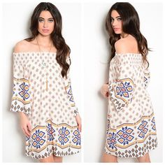 FINAL PRICE Ivory Royal Neon Orange Boho Dress This boho off the shoulder dress features mixed print all over, relaxed fit, and woven fabric. 100% polyester. No trades! Bundle & save! Accepting offers. Boutique Dresses