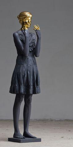 Willy Verginer Figurative Wood Sculptures