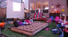 Fun Movie Night Ideas | fall backyard movie night. Love the blow up mattress idea