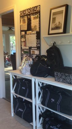 Personalize a Large Utility Tote for each family member. It's a great way to cut down on clutter near the front door. -Heather P