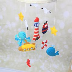 Nautical crib mobile baby boy mobile baby by MiracleInspiration