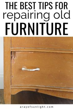 How to easily repair old dressers, thrift finds, bedroom furniture, and old wood furniture. These are the best resources to have in your back pocket to fix chewed up furniture, repair chipping veneer, fix dresser drawers that stick, change hardware on a dresser, and fix missing trim on furniture. These step by step tutorials are perfect tips for painting furniture and upcycling old furniture. By A Ray of Sunlight