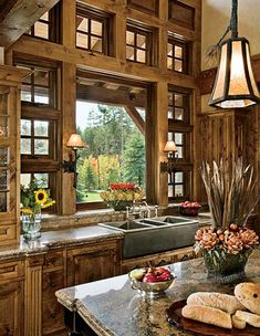Another awesome kitchen, particularly the woodwork.-- ski home