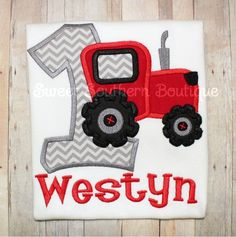John Deere Green Tractor birthday shirt First 1st embroidered applique girl boy shirt boutique outfit 1 2 3 4 5 6 Red Gray Grey Black on Etsy, $22.00
