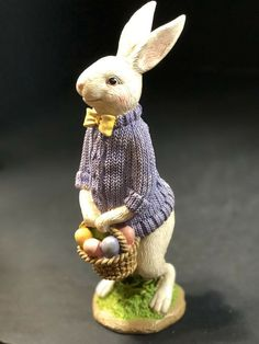 Standing Wood Effect White Rabbit Ornament Chic n Shabby Figurine