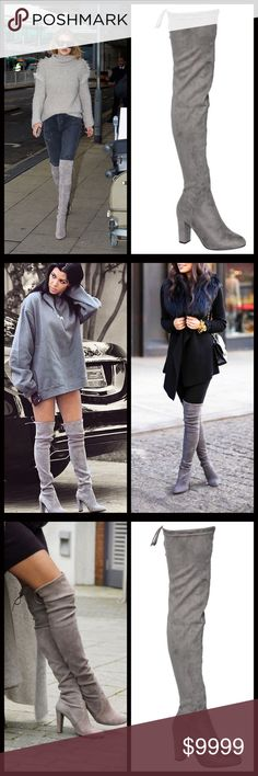 "JUST IN‼️ Gray Over the Knee Boots One of my closet favorites in a stunning light gray. You will have heads turning with these on. Truly gorgeous on!! Soft vegan suede with chunky high heel and side zipper closure with functional tie at top which helps them stay up. 3.75"" heel. 17"" circumference. 24.5"" Shaft height. Hits lower thigh area on me and I'm 5'8. Shoes Over the Knee Boots"