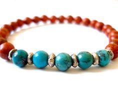 Turquoise Mala Bracelet, Turquoise, Wooden Mala Beads, Beaded Bracelet, Happiness