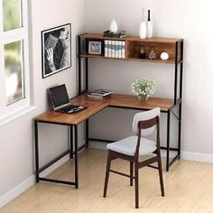 L-Shape Corner Computer Desk Laptop PC Table Wood Workstation Home Office. - L-Shape Corner Computer Desk Laptop PC Table Wood Workstation Home Office Computer Desk With Hutch, Desk Hutch, Desk With Shelves, Desk With Storage, Corner Shelves, Desk With Bookshelf, Computer Desks, Corner Office Desk, Wall Shelves