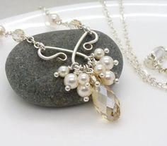 Crystal wedding necklace champagne crystal by CreativityJewellery, $95.00