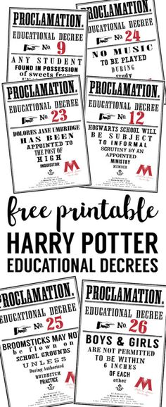 Harry Potter Educational Decrees free printable proclamations. Perfect birthday party or Halloween decorations. From book 5 the Order of the Phoenix.