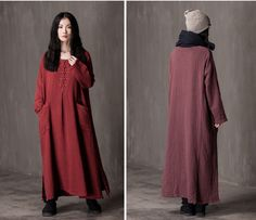 women cotton linen loose fitting long sleeve autumn and spring maxi dress customized dress  plus size clothing buykud