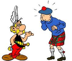 Asterix vs Tiintin. Use for physical comparisons in Beginner French courses.