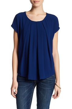Short Sleeve Pleated Front Knit Back Blouse (Petite)