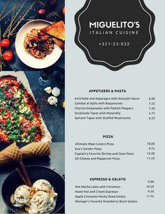 Modern Italian Food Collage Menu