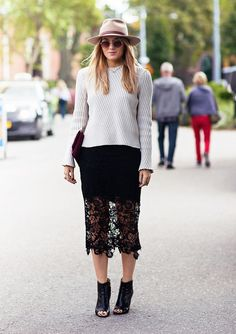 A ribbed sweater is paired with a black lace skirt, a felt hat and black peep-toe booties.